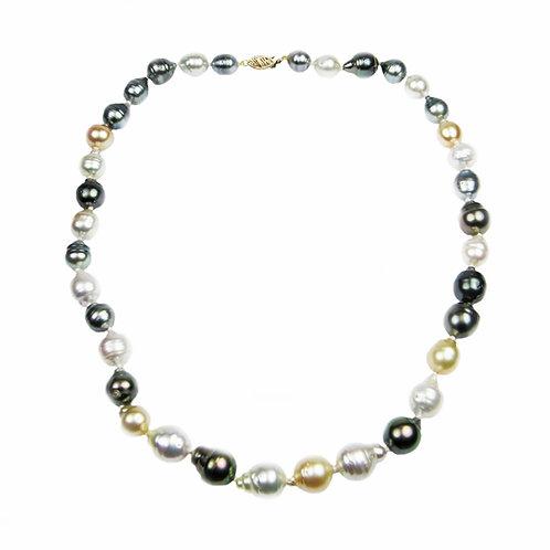 Regalia 14k Yellow Gold Multicolor South Sea Baroque Cultured Pearl Necklace