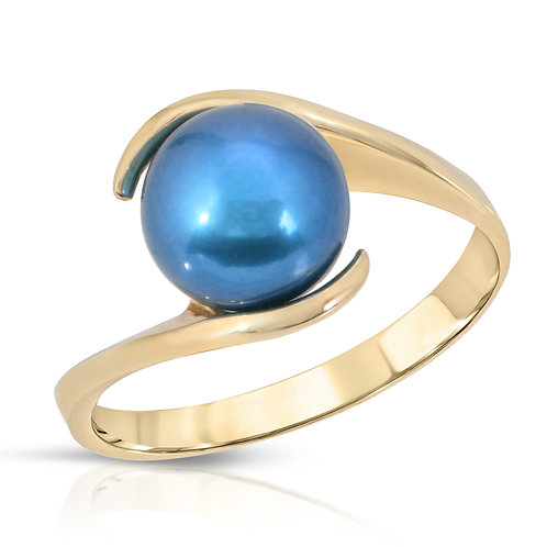 14K Yellow Gold a  Blue Freshwater Pearl Ring