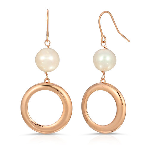 .925 Sterling Silver and Cultured Freshwater Pearl Dangle Earrings