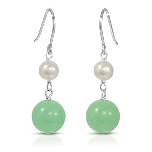 Natural Green Jade and Cultured Freshwater Pearl Dangle Earrings