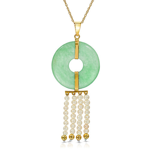 14K Yellow Gold Genuine Jade and Cultured Freshwarter Pearl Pendant Necklace 18""