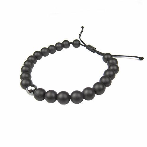 Regalia by Ulti Ramos Men's Black Agate Power Bracelet