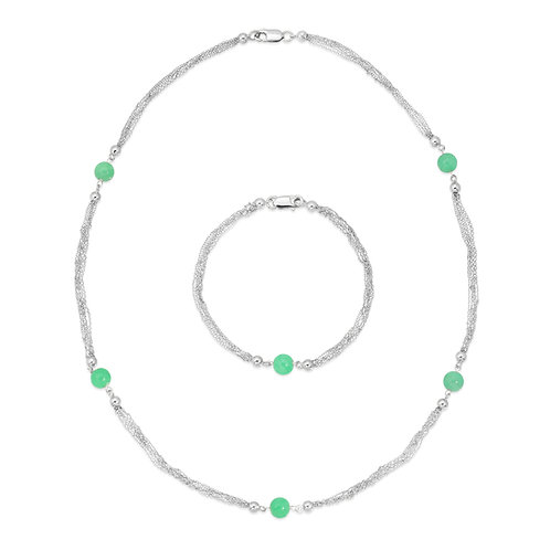 Multi Chain Genuine Jade Necklace and Bracelet Set in .925 Sterling Silver