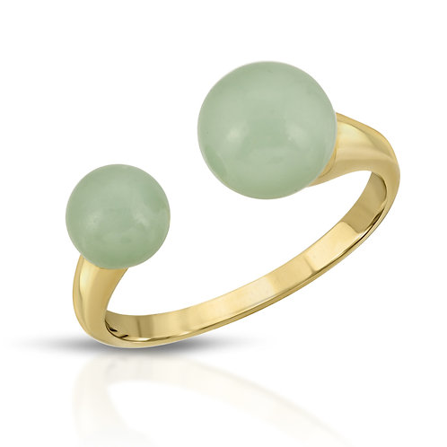 Genuine Jade Double Bead Adjustable Ring Yellow Gold Plated Sterling Silver .925