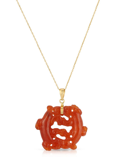 """Real Jade Double Dragon Pendant Necklace 17"""" 14K Yellow Gold (Red Jade)"""