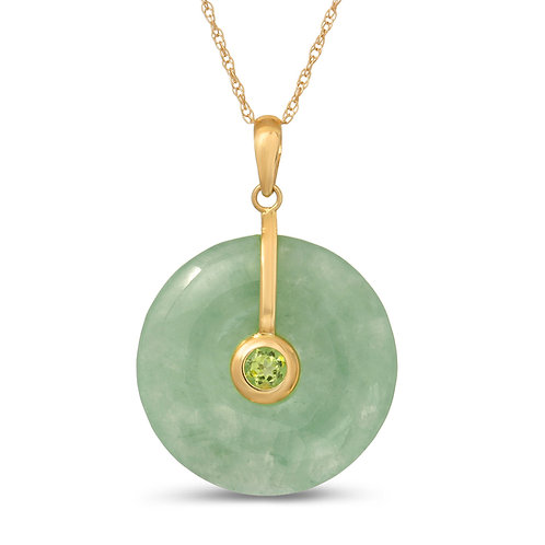 Regalia by Ulti Ramos 14K Yellow Gold 21mm Round Jade Pendant Necklace with Gems