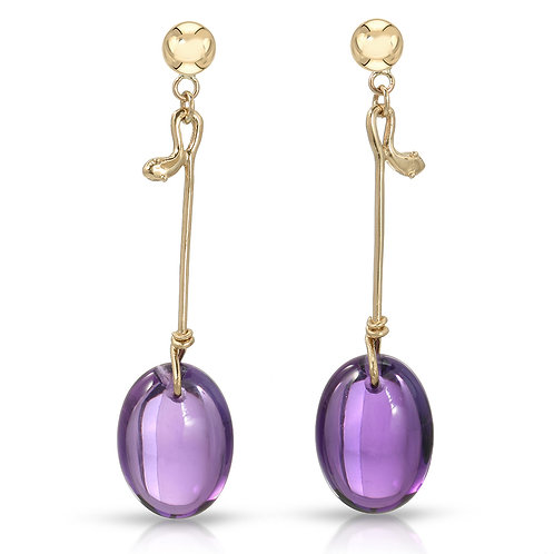 14K Yellow Gold Smooth Amethyst Oval Drops Dangle Earrings