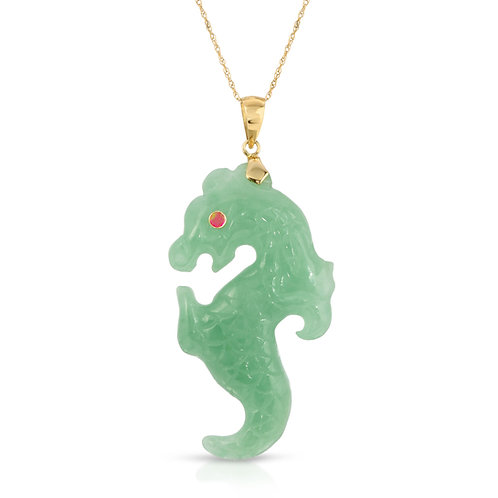 Genuine Green Jade Seahorse Pendant Necklace with Ruby Eye 14K Yellow Gold