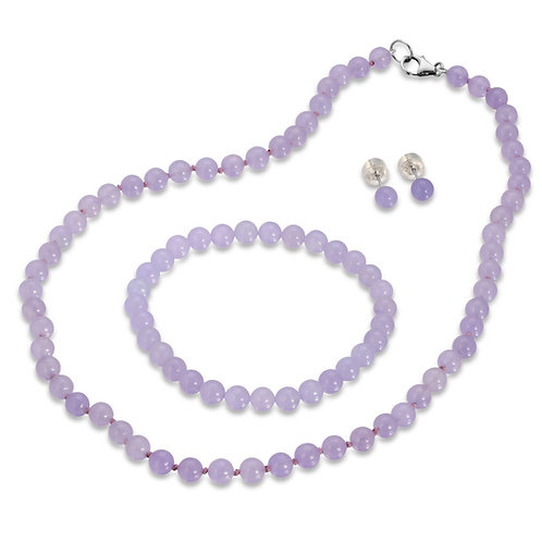 Real Jade in Lavender Color 3pcs Jewelry Set, Necklace, Bracelet & Stud Earring