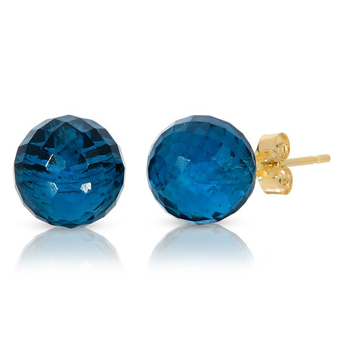 Faceted Gemstone Stud Earrings 14K Yellow Gold
