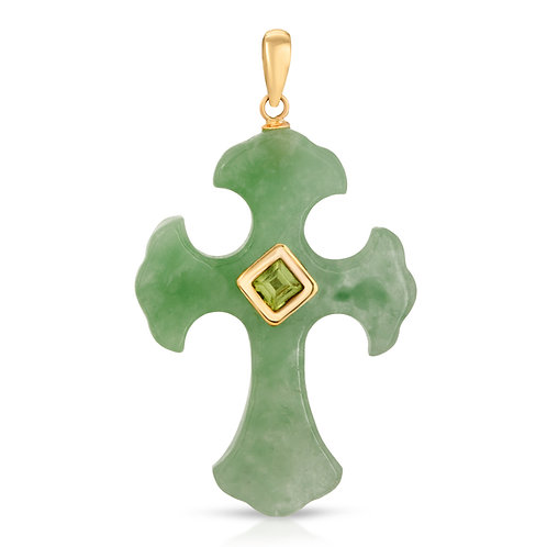Regalia by Ulti Ramos Genuine Green Jade Cross Pendant with Blue Topa