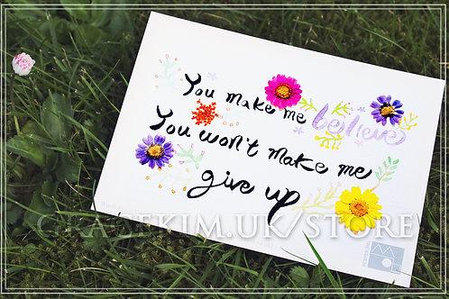 Lyrics Postcard - You Make Me Believe