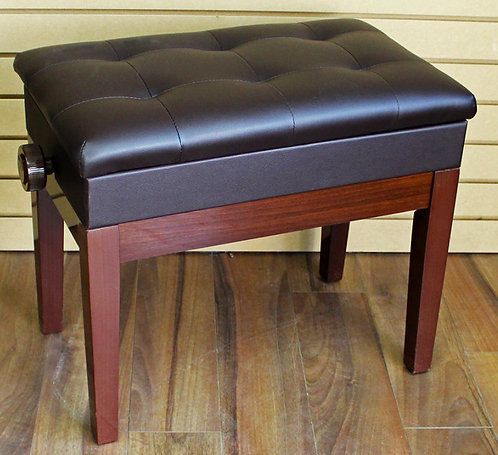 Adjustable Piano Bench with Book Storage Dark Brown Brand New