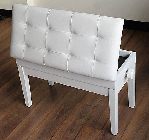 Long Adjustable White Piano Bench with Book Storage Brand New