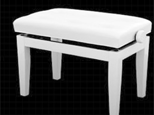 Piano Bench White Padded Top Adjustable Height Brand New
