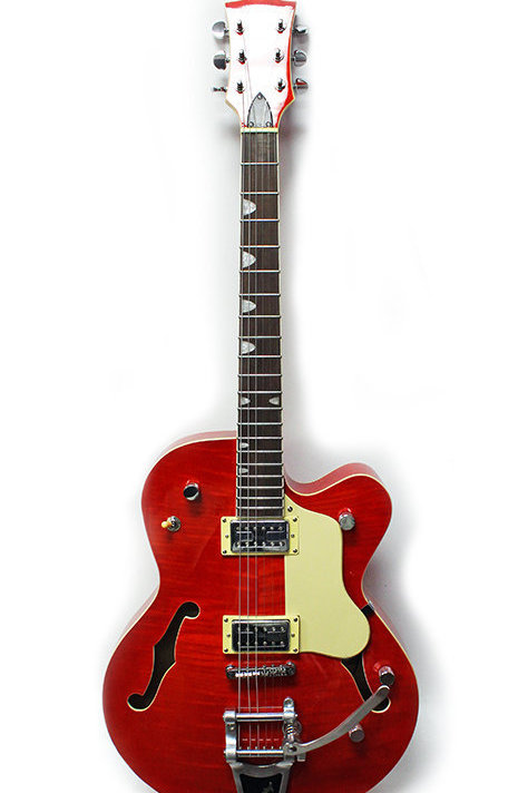 Electric Jazz Guitar Flamed Red BigsBy