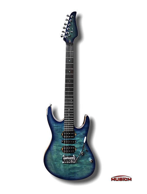 Electric Guitar Marble Blue Green