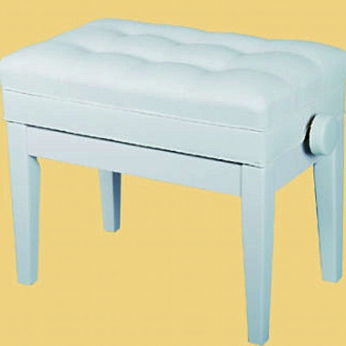 Piano Bench White Padded Top Adjustable Height Book Storage