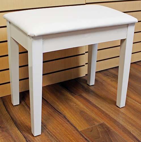 White Piano Bench Satin Finish with Storage Brand New