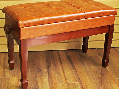 Adjustable Piano Bench with Book Storage Light Brown Brand New