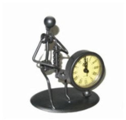 Steel Figurine with Clock