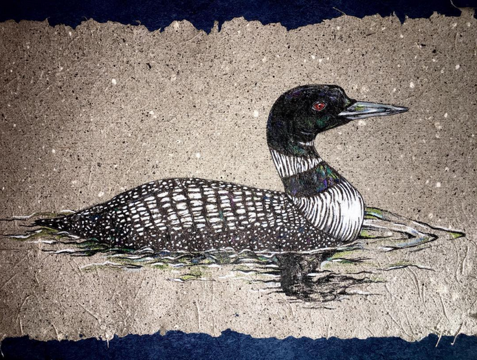 Lake Loon on Banana paper