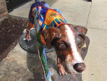 Painted Fiberglass Dog