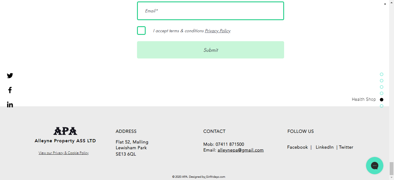 Footer of Landing Page