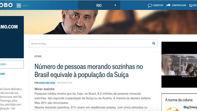 O Globo: Número de pessoas morando sozinhas no Brasil equivale à população da Suíça