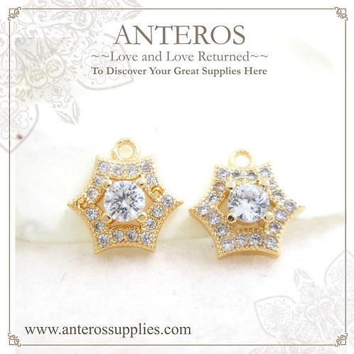 2PC Gold Plate Micro pave glittering Hexagonal Star Charms/Pendants(GFPC0097)