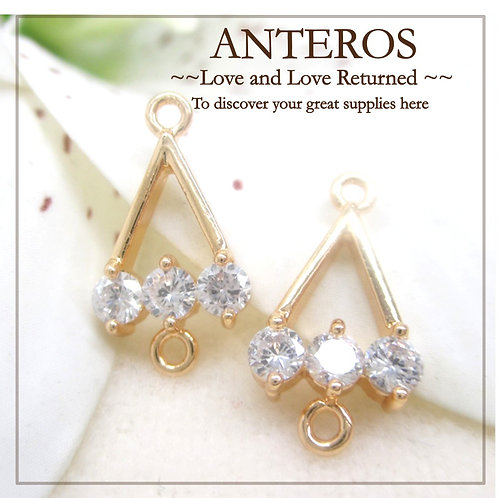 2PC Gold Plate Triangle AAA Cubic Zirconia Connectors,DIY Earring(GFC0012)