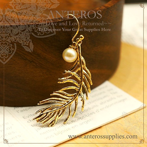 50PC Gold Flying Feather Charms,Ferns Pendants,13*39mm(GFPC0153B)
