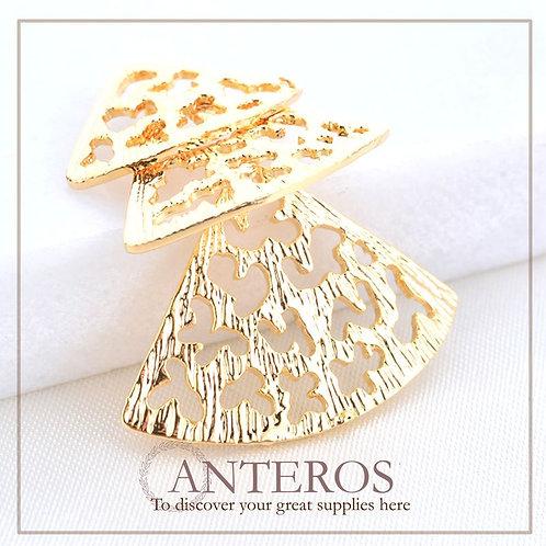 6 pcs Gold Connecting Japanese Paper fan Pendant,(GFPC0193)