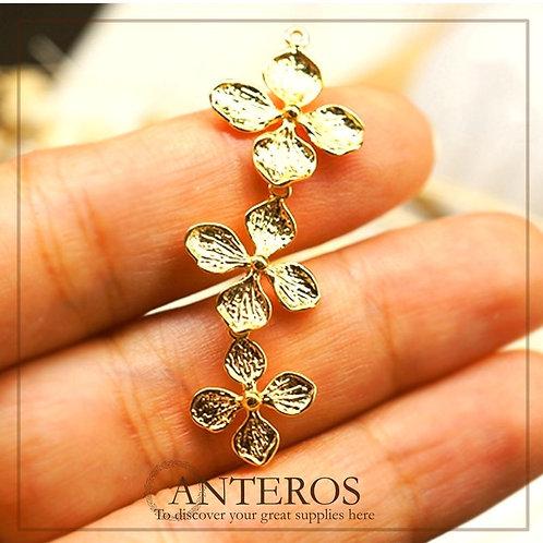 4 pcs Gold Linked 3 Clover Flowers Connectors/Gold Pendant(GFC0101)