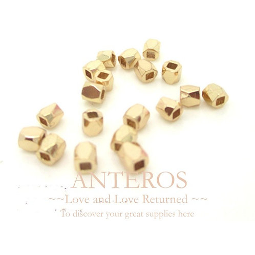 20PC Gold Tiny Faceted Beads,3mm,GF Brass(GFB0009)