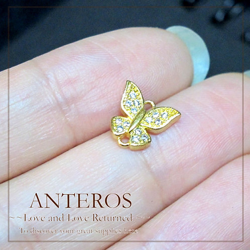 2 PCS Gold Plated Micro pave AAA CZ Butterfly Links/Connectors,8.5mm(GFC0039)