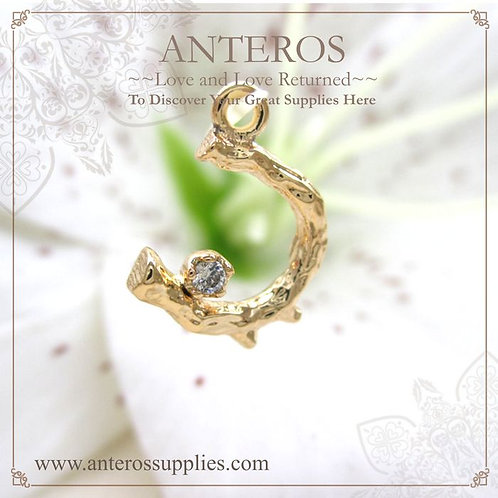 4PC Special Design Gold Plate Crescent Moon Stoned AAA CZ(GFPC0118)