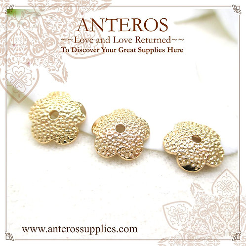 6PC Gold Large Round Semi-sphere Five-leaves Dotted Bead Caps(GFBC0031)