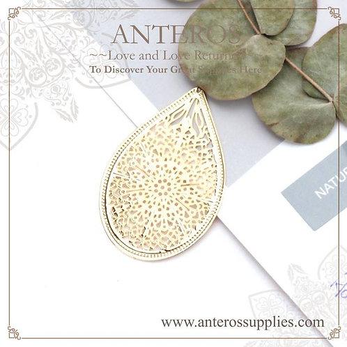 6PC Gold Huge Filigree Pattern Drop Earrings Pendant,33x49mm(GFPC0250)