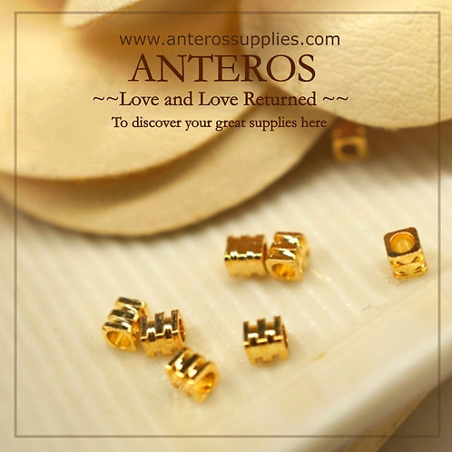 10PC Gold Tiny Square Cube Stripe Beads,3mm,GF Brass(GFB0039)