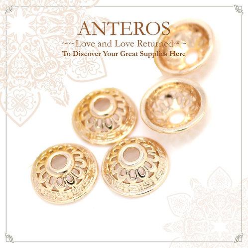 6PC Gold Large Semi-Sphere Filigree Beads Caps/ Tassel Caps(GFBC0016)