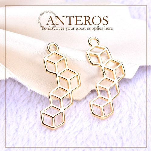 6 pcs Gold Hexagonal Genetics DNA Pendant, Love Crystal Pendants,21*10(GFPC0242)