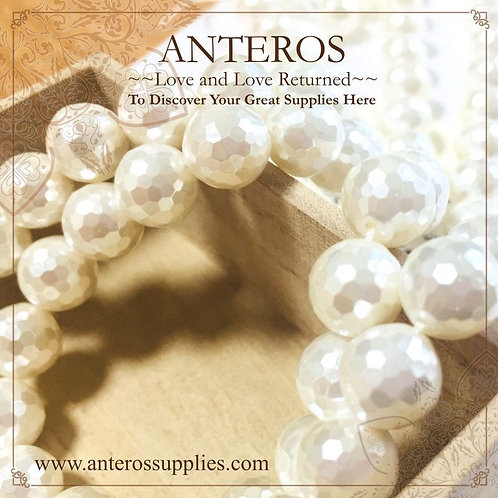 128 Cut Faceted Round Beads, mother of pearl beads strand (MOP0001)