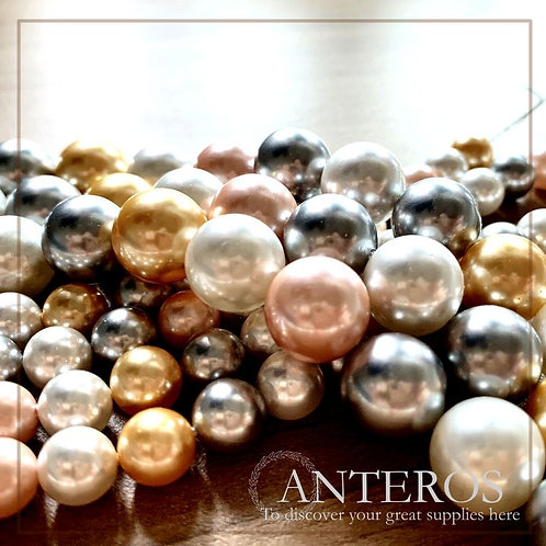 1 full strand 8-12mm Mix Color Mother of Pearl Round Beads (MOP0005)