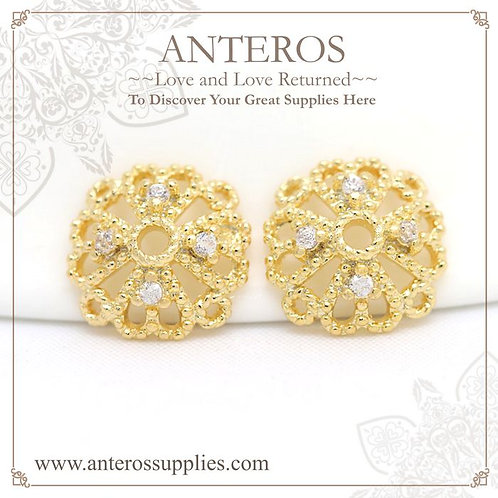 4 PCS Gold Filled Filigree Round Square bead caps, AAA CZ,8mm(GFBC0083), gold filled twisted wire bead caps