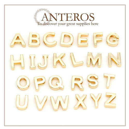 1 Set gold A-Z letter beads, leather beads, charms beads (GFB0150S)