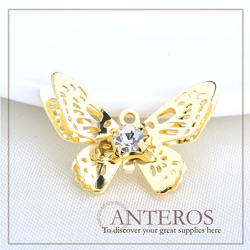 6 pcs Gold Small Butterfly with AAA CZ Charms,13*21mm(GFPC0222)
