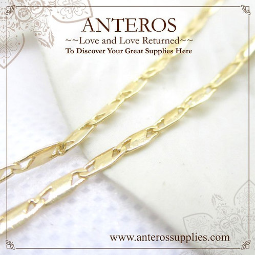 1 meter Gold Plate flatten mariner chain,elegant GP unfinish chain(GFF0077