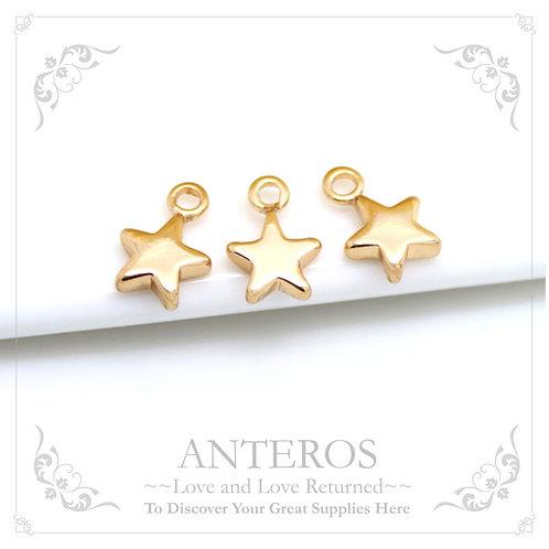 100-200PC Gold Tiny Pentagonal Star Charms/End Charms,7x10mm(GFPC0073B)