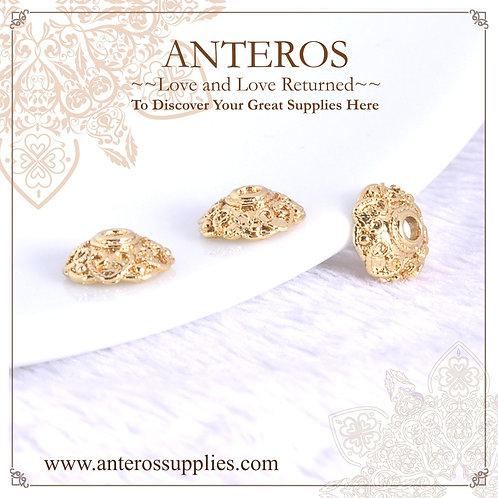 6 PCS Gold Filled Large Flat Camellia Flower Bead Caps,10*4*1.2mm(GFBC0065), gold filled bead caps, gold filled findings
